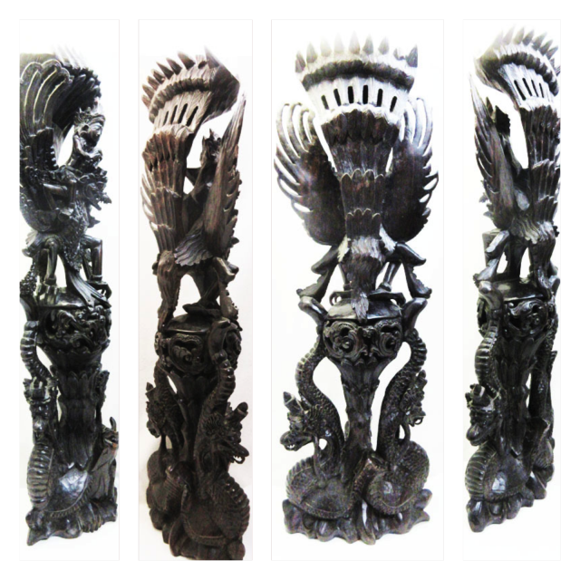 黒檀 ガルーダ(ガルダ)木彫り/仏像/仏教美術/チベット仏