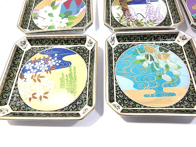 羽柴正和 宮中の花の歳時記 角皿 12客 陶器 未使用品